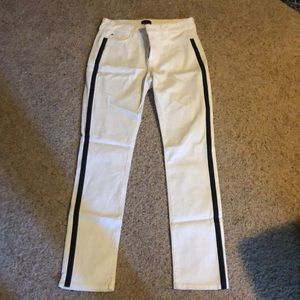 White denim with black stripe